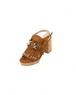 ブラウン 「HELIA」06-cork heel tassel sandalsを見る