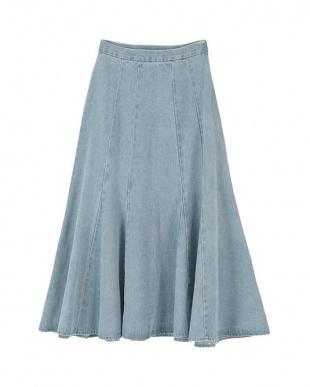ライトブルー デニムソフトマーメードスカートを見る