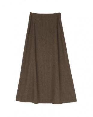 ブラウン 麻混セミフレアスカートを見る