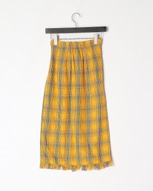 YE チェック柄フリンジタイトスカートを見る