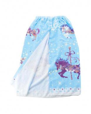 ブルー コットン100% ロマンティック柄プールタオルを見る