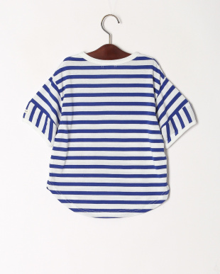 ブルー 裾ラウンドボーダーTシャツを見る