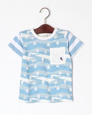 ブルー マリン総柄Tシャツを見る