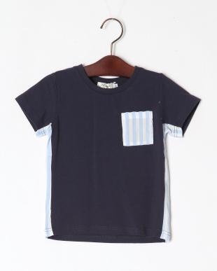 ネイビー 脇切替ポケット付きTシャツを見る