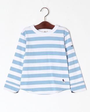 ブルー ロングスリーブボーダーTシャツを見る
