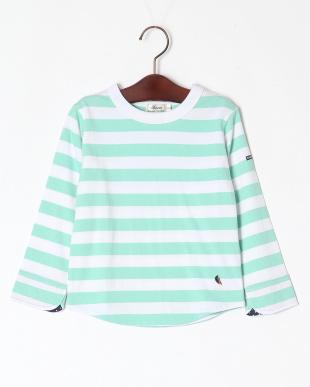 グリーン ロングスリーブボーダーTシャツを見る