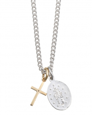 SV925/YELLOW GOLD SV925 MARIA MIRACULOUS MEDAL NECKLACE WITH K10YG DIAMOND CROSS CHARMを見る