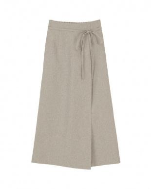 サンドベージュ リネンライクラップAラインリボン付スカートを見る