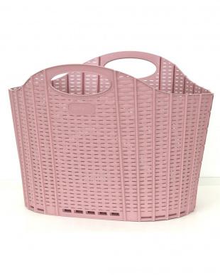ピンク/グレー 折りたためる ランドリーバスケット ラタンピンク&グレー2色セットを見る