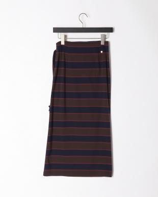 brown×navy ハイビスカスクレイスカートを見る