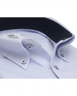 ブルー系 ワイシャツ 長袖 形態安定 ニットシャツ ボタンダウン サックス×ヘリンボーン織柄 スリムを見る