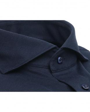 ブルー系 ワイシャツ 長袖 形態安定 ニットシャツ ホリゾンタル ワイド ネイビー×無地調 スリムを見る