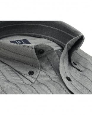 グレー系 ワイシャツ 長袖 形態安定 ボタンダウン ウール混 グレー×ストライプ織柄 標準体を見る