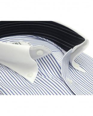 ブルー系 ワイシャツ 長袖 形態安定 HOT-2 クレリック ボタンダウン 白×ネイビー、サックスストライプ スリムを見る