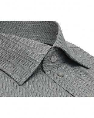 グレー系 ワイシャツ 長袖 形態安定 HOT-2 ワイド グレー×ヘリンボーン織柄 スリムを見る