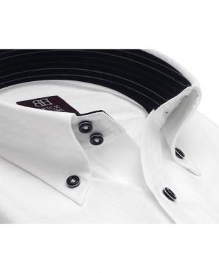 ホワイト系 ワイシャツ 長袖 形態安定 HOT-2 ドゥエボットーニ ボタンダウン 白×変則ストライプ織柄 袖の長い・大きいサイズを見る