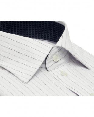 グレー系 ワイシャツ 長袖 形態安定 HOT-2 ワイド ライトグレー×黒、グレーストライプ 袖の長い・大きいサイズを見る
