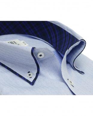 ブルー系 ワイシャツ 長袖 形態安定 HOT-2 パイピング風 ボタンダウン ブルー×ドット織柄 スリムを見る