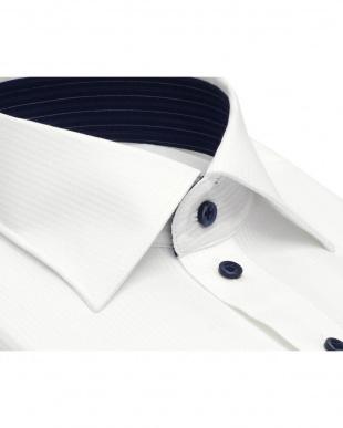 ホワイト系 ワイシャツ 長袖 形態安定 HOT-2 ワイド 白×ストライプ織柄 スリムを見る