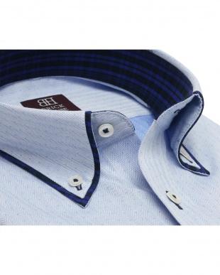 ブルー系 ワイシャツ 長袖 形態安定 HOT-2 パイピング風 ボタンダウン ブルー×ドット織柄 袖の長い・大きいサイズを見る