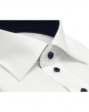 ホワイト系 ワイシャツ 長袖 形態安定 HOT-2 ワイド 白×ストライプ織柄 袖の長い・大きいサイズを見る