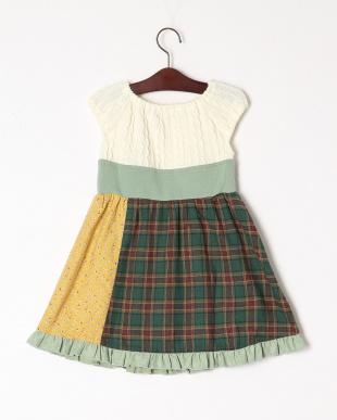 グリーン ウエストリボンジャンパースカートを見る