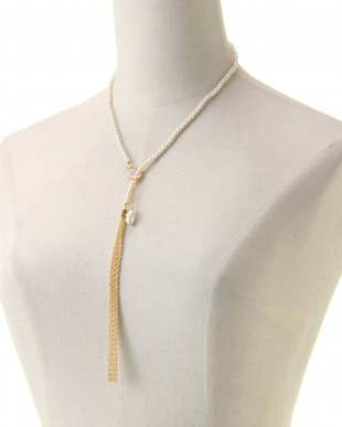 ゴールド/パール/クリスタルクリスタル タッセルXパールYスタイルネックレスを見る