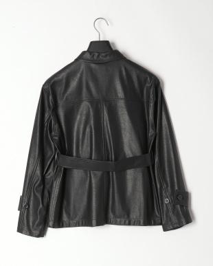 ブラック フェイクレザーCPO ジャケットを見る