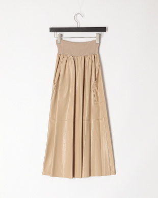 ベージュ エコレザーポケット付きスカートを見る