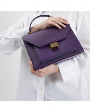 Purple クロックエフェクトトップハンドルバッグ / Croc-Effect Top Handle Bagを見る
