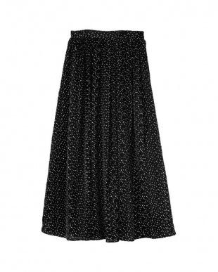 ドット/ブラック サテンギャザースカートを見る