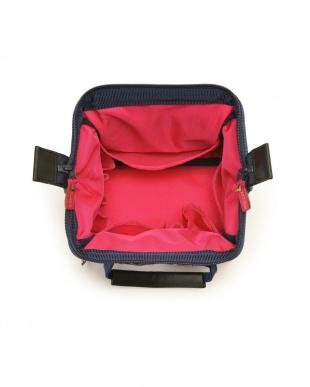 ネイビー コスメ柄 ワイドオープン・コンパクトバッグを見る