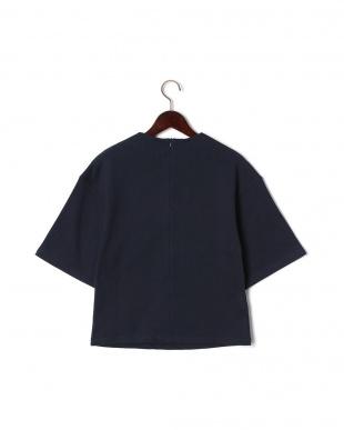 ネイビー フラワーアップリケ 半袖 スウェットシャツを見る