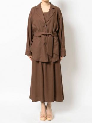 ブラウン リネンブレンドシャツジャケット【セットアップ着用可】 LAGUNAMOONを見る
