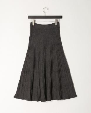 トップグレー 3段変形プリーツ ニットフレアースカート (ラインストーンネックレス付き)を見る