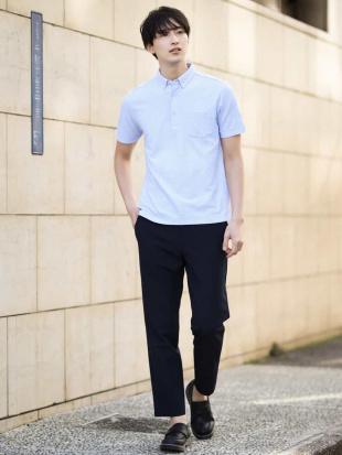 ネイビー 【吸水速乾】サッカージャージーポロシャツ[WEB限定サイズ] a.v.v HOMMEを見る