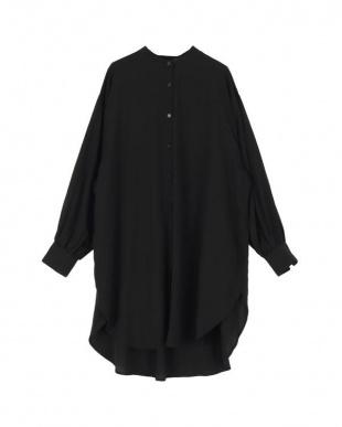 ブラック バンドカラーオーバーロングシャツを見る