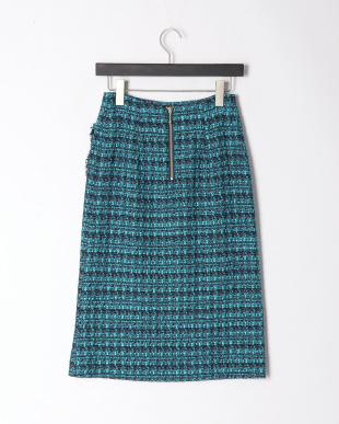 グリーン ファンシーツイードタイトスカートを見る