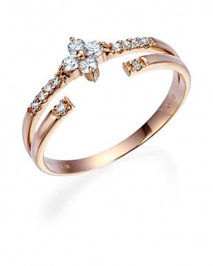 ピンクゴールド K18PG ダイヤモンド フラワーモチーフ リングを見る