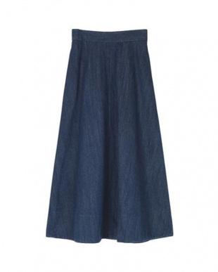 ブルー ハイウエストデニムロングスカートを見る