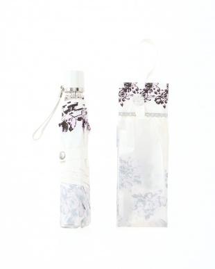 ピンク 晴雨兼用日本製軽くて涼しい白いシャドーローズ柄を見る