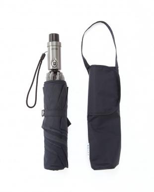 ネイビー ワンプッシュ自動開閉傘 手を濡らさずに畳めるステッパーを見る