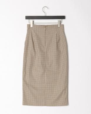 ベージュ柄 ハイウエストポケットタイトスカートを見る