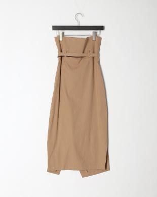 キャメル  ナチュラルストレッチ ベルト付リラックススカートを見る