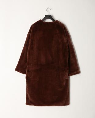 ブラウン エコファーロング丈コートを見る