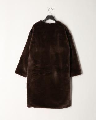 ダークブラウン エコファーロング丈コートを見る