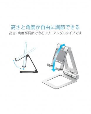 シルバー 「タブレット用スタンド」 アルミスタンド/角度調節可能/コンパクトを見る
