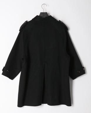 ブラック ダブルボタン ウールコートを見る