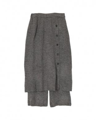 チャコール インナーパンツ付ふわっとタッチニットスカートを見る