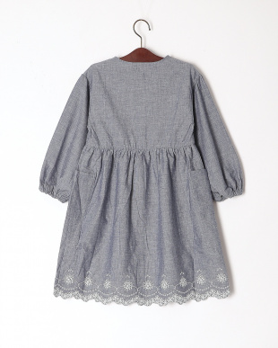 ブルー 裾刺繍ワンピースを見る